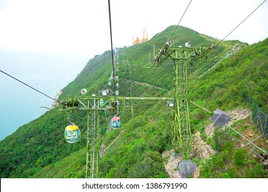HONG KONG - APRIL 17, Tourists taking cable cars back and forth between The Waterfront and The Summit in Hong Kong Ocean Park, a very famous tourist destination in Hong Kong