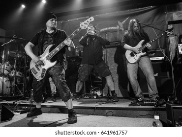 HONG KONG - April 21, 2017: Finnish metal band Dreamtale show, Guitarist Rami Keränen performed on stage with other member