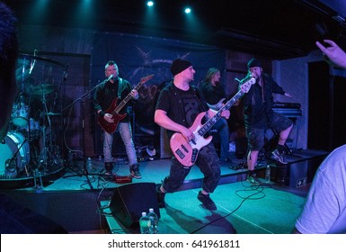 HONG KONG - April 21, 2017: Finnish metal band Dreamtale show, Guitarist Rami Keränen performed on stage with other members