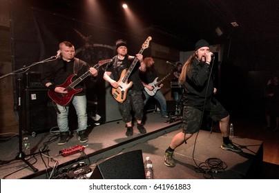 HONG KONG - April 21, 2017: Finnish metal band Dreamtale show, Vocalist Erkki Seppänen and Guitarist Rami Keränen performed on stage with other members