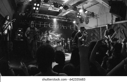 HONG KONG - April 21, 2017: American metal band Whitechapel show, Vocalist Phil Bozeman performed on stage with other members