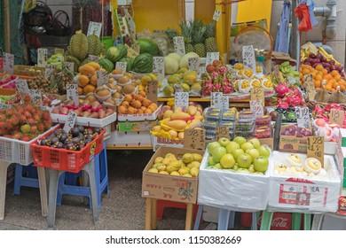 Hong Kong - April 22, 2017: Fruits and Vegetables at Street Market in Central, Hong Kong.