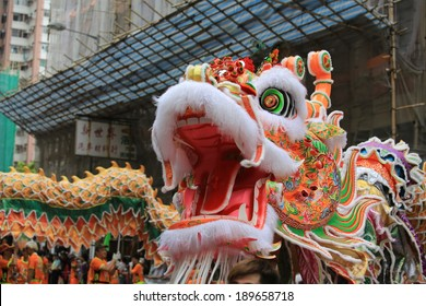 HONG KONG, APRIL 22: People dance the dragon in the Tin Hau birthday in Yuen Long on 22 april 2014. Tin Hau, Goddess of Sea in china. Locals rally dedicated to her for safety during the coming year.