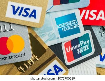HONG KONG - April 26, 2018: Credit cards close up, Visa, Master card, Union Pay and American Express.