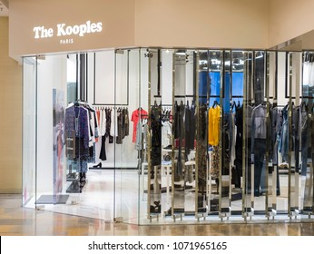 Hong Kong - April 3, 2018: The Kooples store in Hong Kong. The Kooples is a French fashion retailer. As of 2014, they had 321 outlets in Europe.