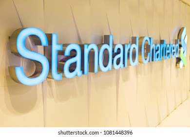 Hong Kong - April 30, 2018: Standard Chartered in Hong Kong. Standard Chartered is a British company that operates more than 1,200 branches and outlets in more than 70 countries worldwide.