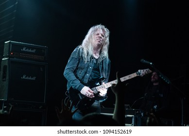 HONG KONG - APRIL 4,2018: Arch Enemy show, Guitarist Jeff Loomis performed on stage