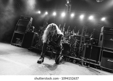 HONG KONG - APRIL 4,2018: Arch Enemy show, Vocalist Alissa White-Gluz performed on stage