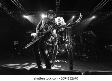 HONG KONG - APRIL 4,2018: Arch Enemy show, Guitarist Michael Amott & Vocalist Alissa White-Gluz performed on stage