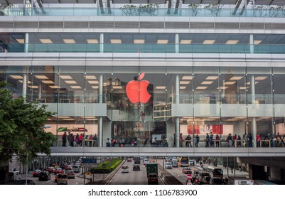 HONG KONG - April 8, 2018: busy Apple Store located inside IFC (International Finance Centre) shopping mall, Hong Kong
