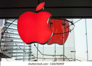 HONG KONG - April 8, 2018: Red Apple sign in the Apple Store located inside IFC shopping mall, Hong Kong