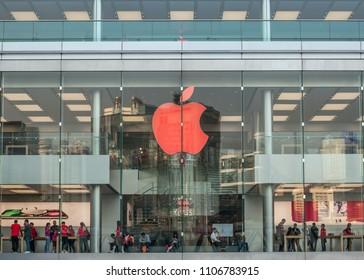 HONG KONG - April 8, 2018: busy Apple Store located inside IFC (International Finance Centre) shopping mall, Hong Kong