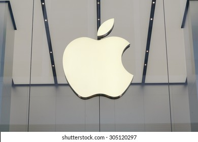 HONG KONG - AUG 10, 2015: Apple Sign Close Up. Is an American corporation headquartered in Cupertino that designs and sells consumer electronics, computer software and personal computers.