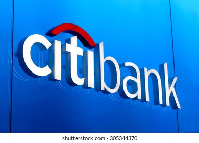 HONG KONG - AUG 11, 2015: Citibank sign installed outdoor. Citibank is a banking division of financial services multinational Citigroup, founded in in 1812 as the City Bank of New York.
