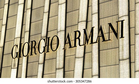 HONG KONG - AUG 11, 2015: Giorgio Armani signage above store entrance in Hong KOng. Giorgio Armani S.P.A. is an international Italian fashion house headquartered in Milan, Italy.