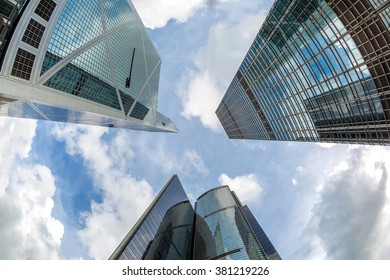 HONG KONG - AUG 12: Looking up of Bank of China  in Central Hong Kong on August 12, 2014. This is one of the most recognisable skyscrapers designed by Pritzker Prize-winning architect I. M. Pei