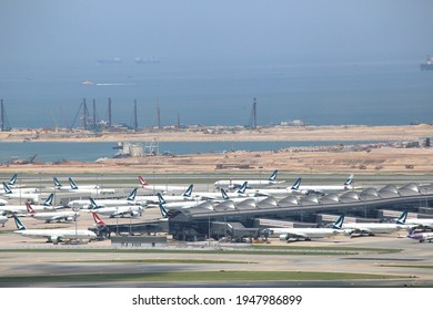 Hong Kong - Aug 23, 2020 - Many planes at Hong Kong International Airport in Hong Kong on Aug 23, 2020. The airline industry suffered huge losses due to the pandemic.