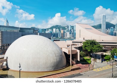 Hong Kong - August 02, 2018 : Hong Kong Cultural Centre and Hong Kong Space Museum. Hong Kong is one of the most densely populated city.