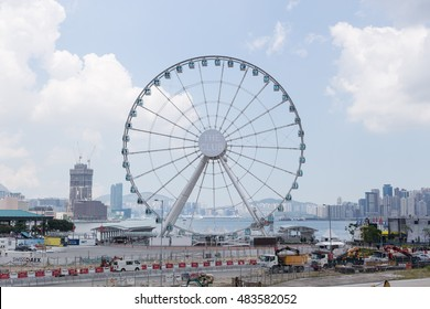 HONG KONG - AUGUST 04: There is big ferris wheel on Hong Kong side August 04, 2015 at Hong Kong.