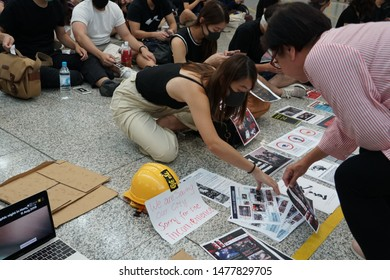 Hong Kong- August 13,2019 Hong Kong protesting at the international airport against the controversial extradition bill.