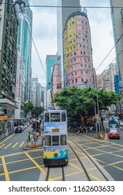 Hong Kong - August 16, 2018: A tram is seen running in Wan Chai, Hong Kong. Since 1904, trams have been running between the east and the west along the northern coast of Hong Kong Island.