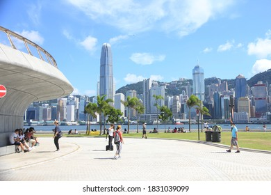 Hong Kong – August 16, 2020: The Skyline of Hong Kong as seen from West Kowloon Cultural District  West Kowloon Cultural District is a new area with theatres and museums