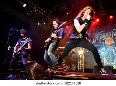 HONG KONG - AUGUST 30,2015: Dragonforce show, Members gathered on stage
