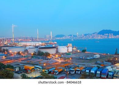 Hong Kong bridge and cargo container terminal