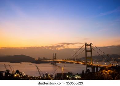 Hong Kong Bridge,It is beautiful Tsing Ma Bridge at sunset in Hong Kong