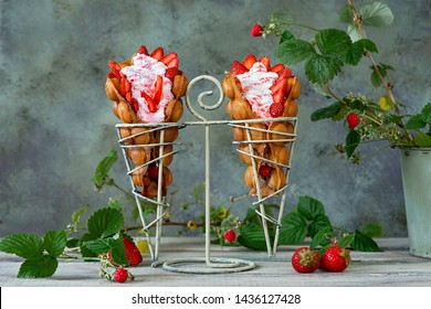 Hong Kong bubble waffles stuffed with whipped cream and strawberries