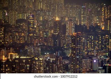 Hong Kong Building and skyscraper cityscape at night