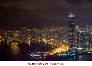 Hong Kong Building and skyscraper cityscape at night