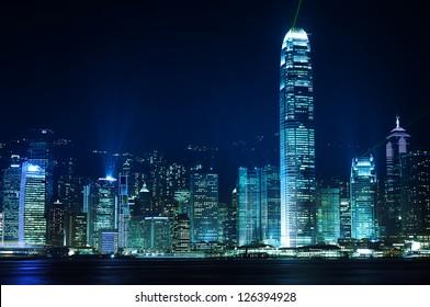 Hong Kong buildings by night