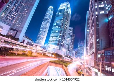 Hong Kong business area at night.