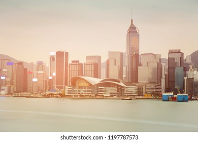 Hong Kong business building ocean front sunset tone