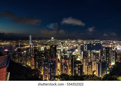 Hong Kong by night landascape from victoria peak side