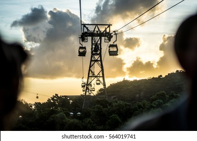 Hong Kong cable cars in sunset