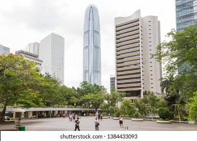 Hong Kong Central, Hong Kong - June 10, 2016 : Chater Garden and Hong Kong Central