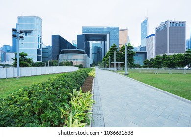 Hong Kong central district with city park,China,Asia.