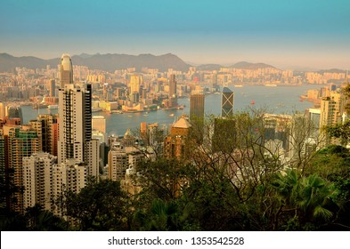 Hong Kong central district skyline and Victoria Harbour