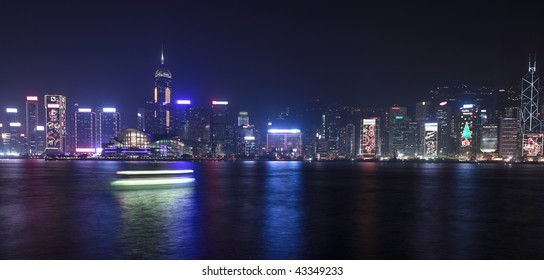 Hong Kong central district skyline at night (large format photography)