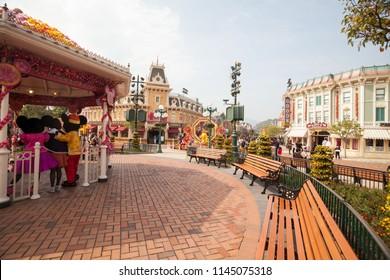 Hong Kong, China, 10 February 2018 : Hong Kong Disneyland view during winter with tourists