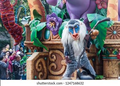 Hong Kong, China, 10 February 2018 : Hong Kong Disneyland day parade
