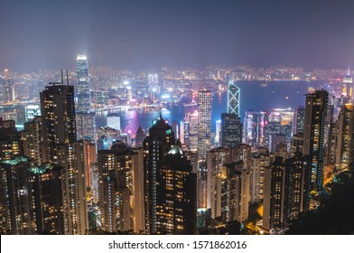 Hong Kong, China: 11/21/19 - Hong Kong skyline at night from Victoria Peak.
