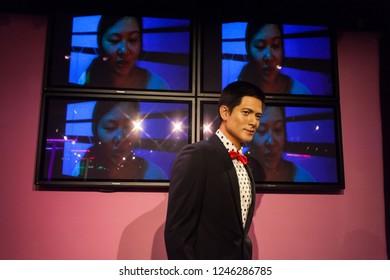 Hong Kong, China, 12 February 2018 :  Wax work view of famous people Aaron Kwok
