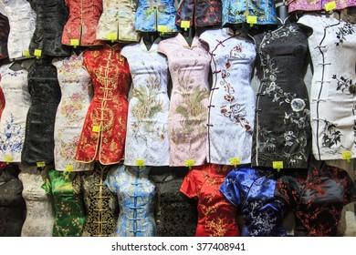 Hong Kong - China, 14 January, 2016: Traditional Hong Kong attire for sale in Temple Street, Hong Kong