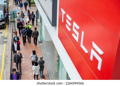Hong Kong, China - 18 December 2018: American electric company car Tesla Motors official store showroom in Hong Kong