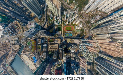 Hong Kong, China - 2020: panoramic view of Kowloon Bay district from above
