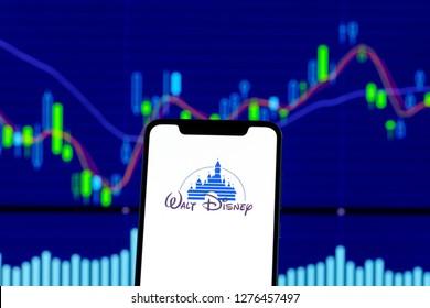 Hong Kong, China - 28 December 2018:   Walt Disney logo is seen on an smartphone over stock chart