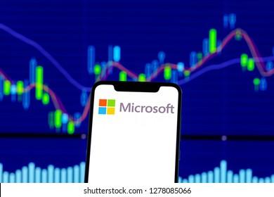 Hong Kong, China - 28 December 2018: Microsoft logo is seen on an smartphone over stock chart